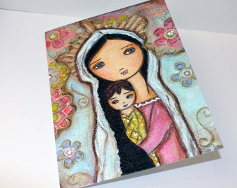 Young Madonna with Child and Flowers - Greeting Card 5 x 7 inches - Folk Art By FLOR LARIOS