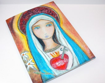 Immaculate Heart of Mary - Greeting Card 5 x 7 inches - Folk Art By FLOR LARIOS
