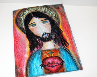 Sacred Heart Jesus - Greeting Card 5 x 7 inches - Folk Art By FLOR LARIOS