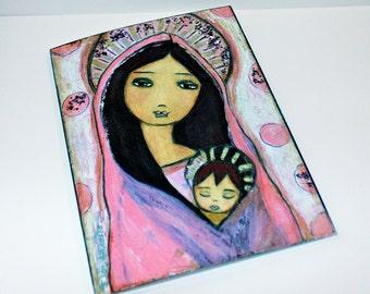 Sweet  Dreams - Greeting Card 5 x 7 inches - Folk Art By FLOR LARIOS