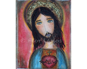 Sacred Heart Jesus - Folk Art  Print from Painting (8 x 10  inches Print) by FLOR LARIOS