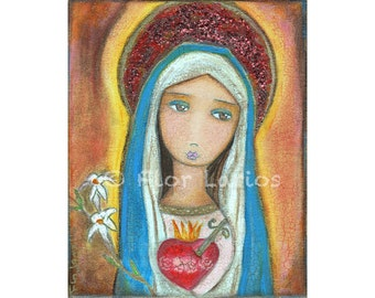 Immaculate Heart of Mary - Folk Art  Print from Painting (6 x 8  inches Print) by FLOR LARIOS
