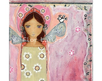 Angel with Little Bird- Reproduction from Painting by FLOR LARIOS (7 x 7 inches Print)