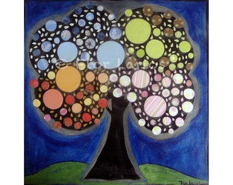 Blooming Tree- Folk Art Print from Collage Painting by FLOR LARIOS (7 x 7 INCHES)