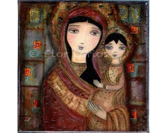 Mother of Tenderness -  Folk Art (7 x 7 inches Print)  by FLOR LARIOS