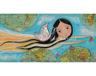 Give Love Fairy- Reproduction from Painting by FLOR LARIOS (5 x 10 inches Print)