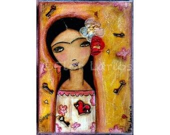 Love me True - Frida Kahlo Print from Painting by FLOR LARIOS (5 x 7 INCHES)