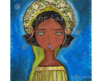 Black Angel Girl - Folk Art Print from Painting (7 x 7 inches PRINT) by FLOR LARIOS