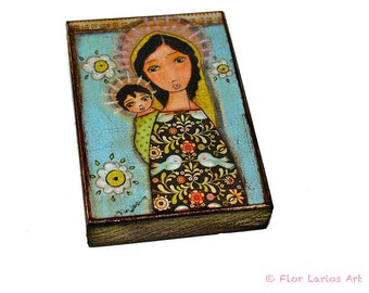 Black Madonna with Child - ACEO Giclee print mounted on Wood (2.5 x 3.5 inches) Folk Art  by FLOR LARIOS
