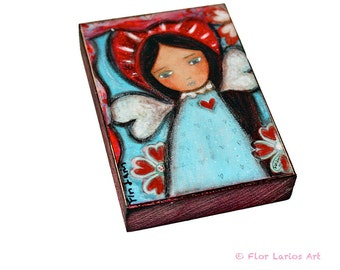 Wings of Love - ACEO Giclee print mounted on Wood (2.5 x 3.5 inches) Folk Art  by FLOR LARIOS