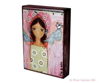 Angel with Little Bird - First Communion - ACEO Giclee print mounted on Wood (2.5 x 3.5 inches) Folk Art  by FLOR LARIOS