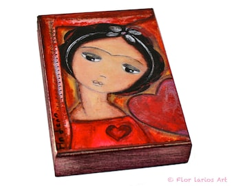 Always in Love Frida - ACEO Giclee print mounted on Wood (2.5 x 3.5 inches) Folk Art  by FLOR LARIOS