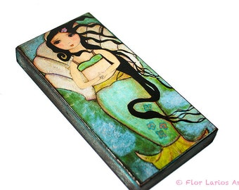 Venus Mermaid -  Giclee print mounted on Wood (3 x 6inches) Folk Art  by FLOR LARIOS