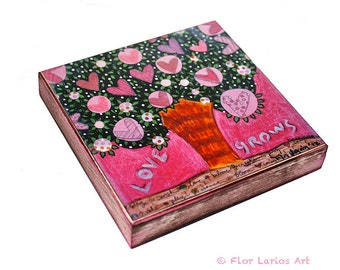 Love Grows Tree -  Giclee print mounted on Wood (4 x 4 inches) Folk Art  by FLOR LARIOS
