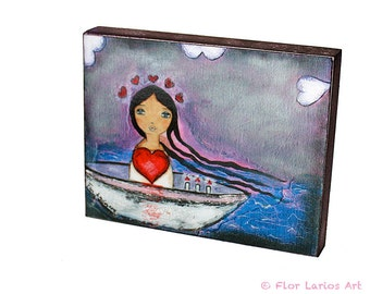 Sailing with You -  Giclee print mounted on Wood (4 x 5 inches) Folk Art  by FLOR LARIOS