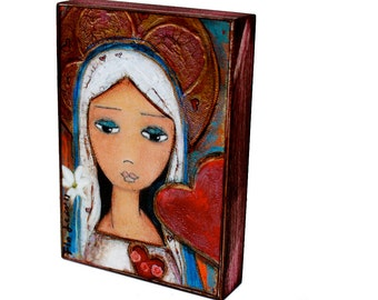 Sacred Heart Mary - ACEO Giclee print mounted on Wood (2.5 x 3.5 inches) Folk Art  by FLOR LARIOS