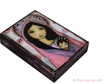 Sweet Dreams - ACEO Giclee print mounted on Wood (2.5 x 3.5 inches) Folk Art  by FLOR LARIOS