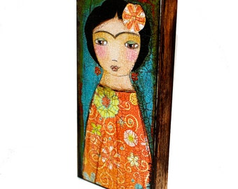 Frida in Orange -  Giclee print mounted on Wood (3 x 6inches) Folk Art  by FLOR LARIOS