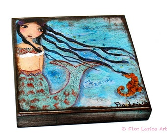 Forever Friends-   Giclee print mounted on Wood (4 x 4 inches) Folk Art  by FLOR LARIOS