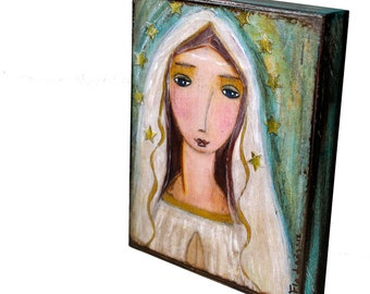 Our Lady of Lourdes -  First Communion - Giclee print mounted on Wood (4 x 5 inches) Folk Art  by FLOR LARIOS