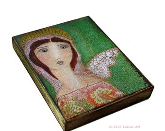 Angel with One Wing-  Giclee print mounted on Wood (4 x 5 inches) Folk Art  by FLOR LARIOS