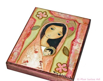 Madonna in Pink -  Giclee print mounted on Wood (4 x 5 inches) Folk Art  by FLOR LARIOS