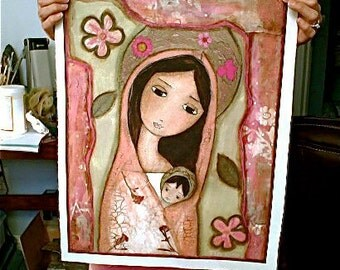 Madonna in Pink - Large Print on Fabric from Original Painting (16 x 20 inches) by FLOR LARIOS