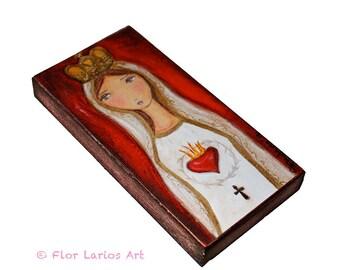 La Virgen de Fátima -  Giclee print mounted on Wood (3 x 6inches) Folk Art  by FLOR LARIOS