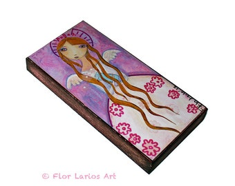 Angel Girl Birthday Quinciañera-  Giclee print mounted on Wood (3 x 6inches) Folk Art  by FLOR LARIOS