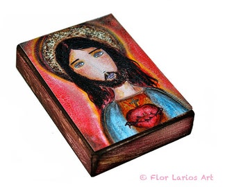 Sacred Heart Jesus - ACEO print mounted on Wood (2.5 x 3.5 inches) Folk Art  FLOR LARIOS