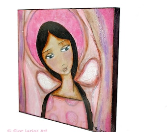 First Communion - Pink Angel -  Giclee print mounted on Wood (8 x 8 inches) Folk Art  by FLOR LARIOS