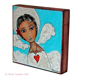 Face of an Angel -   Giclee print mounted on Wood (4 x 4 inches) Folk Art  by FLOR LARIOS