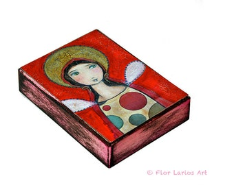 Angel Girl II - Aceo Giclee print mounted on Wood (2.5 x 3.5 inches) Folk Art  by FLOR LARIOS