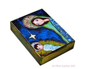 Nativity Star  - Aceo Giclee print mounted on Wood (2.5 x 3.5 inches) Folk Art  by FLOR LARIOS