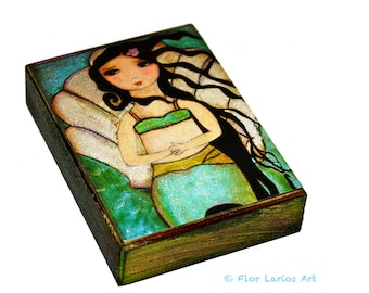 Venus Mermaid - ACEO Giclee print mounted on Wood (2.5 x 3.5 inches) Folk Art  by FLOR LARIOS