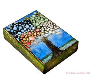 Four Seasons  Tree - ACEO Giclee print mounted on Wood (2.5 x 3.5 inches) Folk Art  by FLOR LARIOS