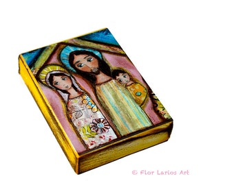 Nativity Night  - Aceo Giclee print mounted on Wood (2.5 x 3.5 inches) Folk Art  by FLOR LARIOS