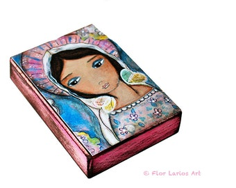 Watching Over You - ACEO Giclee print mounted on Wood (2.5 x 3.5 inches) Folk Art  by FLOR LARIOS