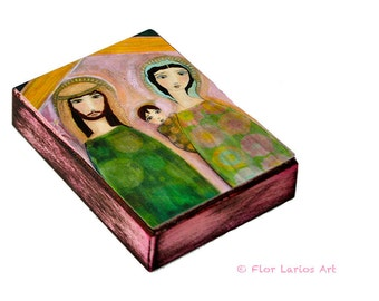 Nativity - Nacimiento - Aceo Giclee print mounted on Wood (2.5 x 3.5 inches) Folk Art  by FLOR LARIOS