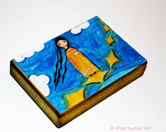 Walking on the Stars - ACEO Giclee print mounted on Wood (2.5 x 3.5 inches) Folk Art  by FLOR LARIOS