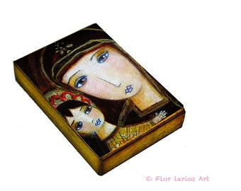 Mary and Baby Jesus - ACEO Giclee print mounted on Wood (2.5 x 3.5 inches) Folk Art  by FLOR LARIOS