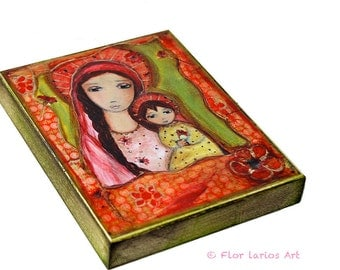 Madonna with Red Flowers -  Giclee print mounted on Wood (4 x 5 inches) Folk Art  by FLOR LARIOS