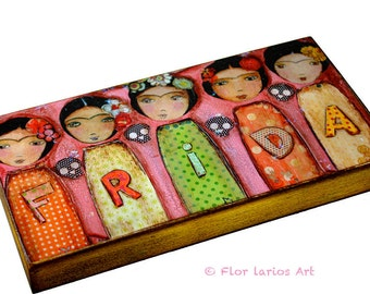Frida Fiesta -  Giclee print mounted on Wood (3 x 6inches) Folk Art  by FLOR LARIOS