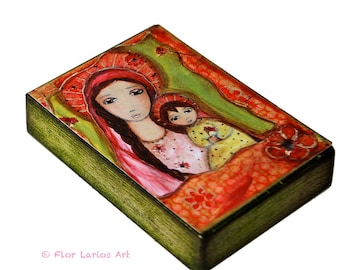 Madonna with Red Flowers - ACEO print mounted on Wood (2.5 x 3.5 inches) Folk Art  by FLOR LARIOS