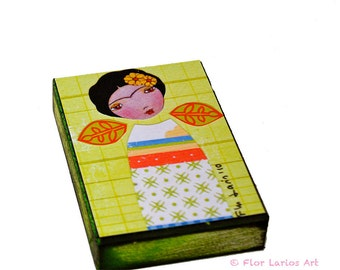 Frida in Green and Orange - ACEO Giclee print mounted on Wood (2.5 x 3.5 inches) Folk Art  by FLOR LARIOS