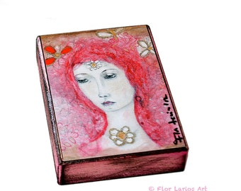 Pink Fairy - ACEO Giclee print mounted on Wood (2.5 x 3.5 inches) Folk Art  by FLOR LARIOS