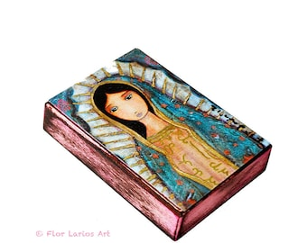 Virgen de Guadalupe in Pink - ACEO Giclee print mounted on Wood (2.5 x 3.5 inches) Folk Art  by FLOR LARIOS