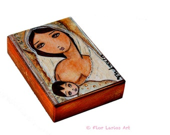 Maternity  - ACEO Giclee print mounted on Wood (2.5 x 3.5 inches) Folk Art  by FLOR LARIOS