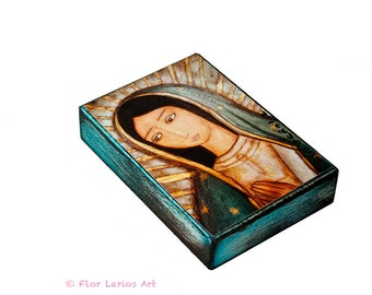 La Virgen Morena Guadalupe  - ACEO Giclee print mounted on Wood (2.5 x 3.5 inches) Folk Art  by FLOR LARIOS