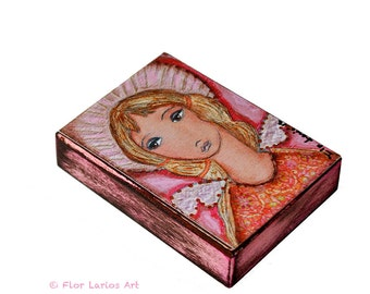 Pink Angel - ACEO Giclee print mounted on Wood (2.5 x 3.5 inches) Folk Art  by FLOR LARIOS